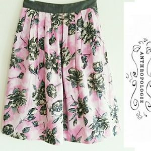 Anthropologie Odille Floral A Line Cotton Skirt 0